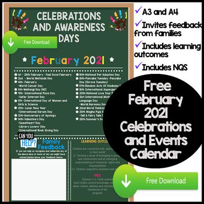 February Celebrations & Awareness Calendar Screenshot